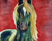 "horse painting ""Steps Into Light"" giclee print of original watercolor"