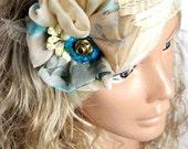 Blue Cream Unique Headband, Personalized Hair accessory, bandana, headwrap, hairband