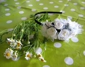 White flower headband. Bridemaids accessories headband for women and teens