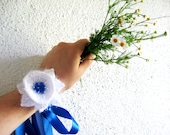 Blue White, crochet headband, with blue beads and bow. multi purpose headband, neck band and cuff bracelet at the same time.