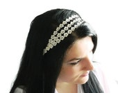 Little lace ivory flowers sequential bridal headband, wedding hair accessory. stretchy with lace. Chic and luxury.
