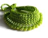 Green Crochet Beaded Bracelet, Woman Cuff Bracelet, Fashion Summer Jewelery Bracelet, Knit Cuff Bracelett