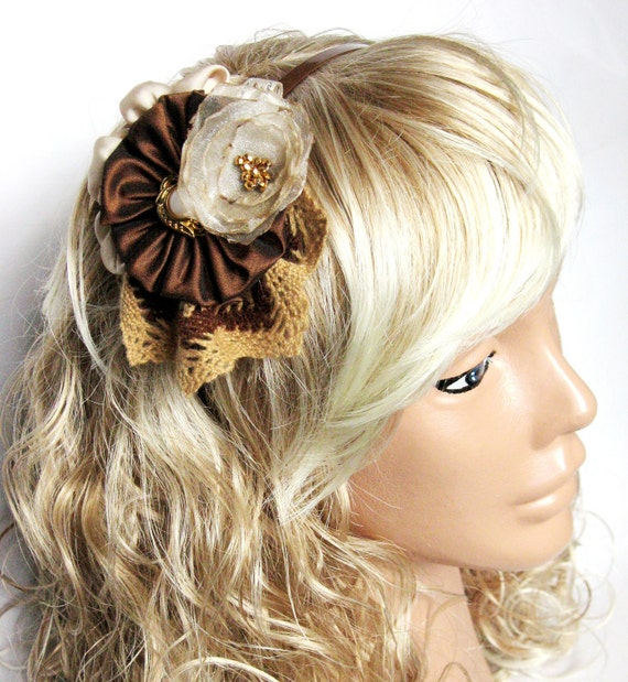Brown, ivory, womens headband, crown, Unique hair accessory