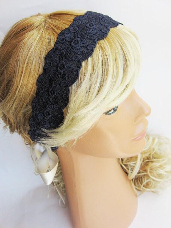 Navy Blue, ivory, Lace Headband, vintage style romantic headband, wedding headband, bridesmaid headband, women headband, bandana