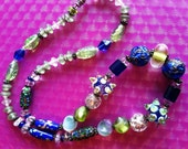 SALE: Bold Glass Beaded Necklace with Flowers Blue Green Silver