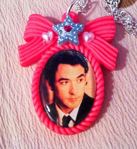 SALE Adorable John Cusack Necklace on a PINK bow cameo with Crystals, Hearts, Pearls. Metal Chain Say Anything America's Sweethearts