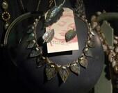 Antique luminous Abalone mother of pearl MOP parure sailors sweetheart set 1900s