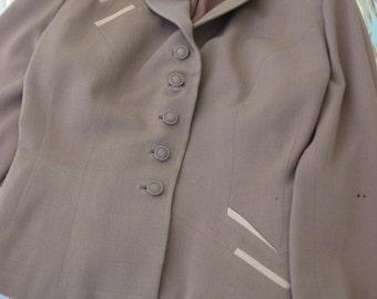 Vintage 1940s Mocha Wool Gabardine Tailored Jacket