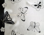 Hand Painted Silk Scarf -MONOCHROME BUTTERFLIES- Cold Batik. MADE to order