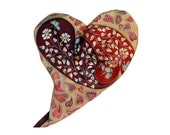 Hand Painted Pure Silk Scarf - TWO HEARTS - Cold Batik. MADE to order Red, paysley, heart, cream, beige