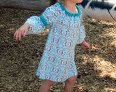 Turquoise and brown Boho Toddler Dress - Size 3T