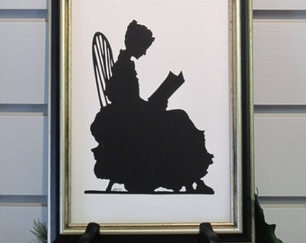 Handcut silhouette paper - lady reading in chair
