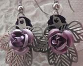 CUSTOM ORDER , SALE - 10% Silver Leaves & Lila Roses