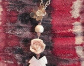 SALE -15% Pink Rose and a Leaf on Chain
