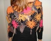 Crochet shawl, orange, red flowers