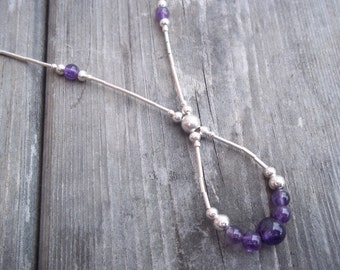 Handmade Elegant Amethyst and Sterling Silver Drop necklace