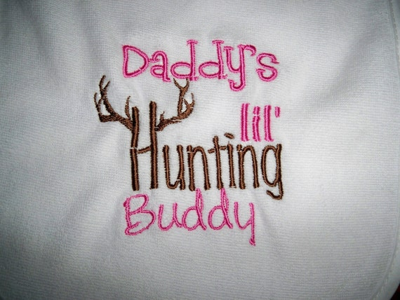 Baby Girl Daddy's Lil Hunting Buddy White with Pink & Brown Bib- Perfect for the Little Hunter - Baby Girl Pink Hunting Bib
