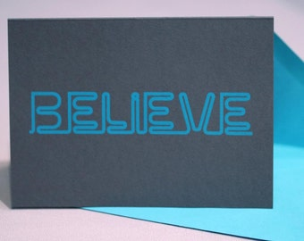 Neon Holiday Cards : BELIEVE Pack of 8