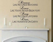 wall decal Dance like no ones watching quote inspirational bedroom decal living room decal wall decor vinyl lettering home decor kids decal