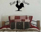 wall decal Rise and Shine with rooster chicken country decal bedroom decal rooster decal vinyl decal quote farm decal country decor home
