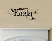 vinyl wall decal quote Happy Easter