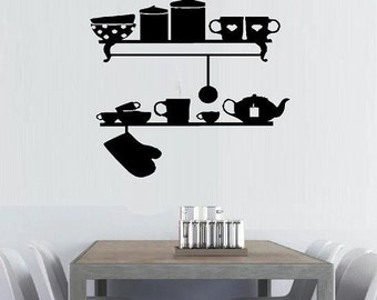 wall decal Kitchen shelves kitchen decor kitchen decal cottage chic home decor wall decor silhouette decal vintage decal country kitchen