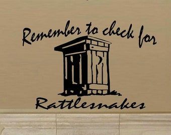 wall decal Remember to check for rattlesnakes western decal outhouse decal bathroom decal funny decal humor decal home decor wall decor