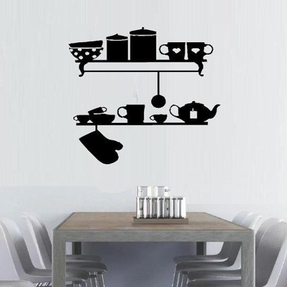 Kitchen Wall Decor Shelves : Items similar to vinyl wall decal decor kitchen shelves
