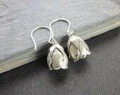 Simple Earrings - Small Fine Silver Flowers Dangle on Sterling Silver Earwires