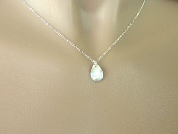 Sterling Silver Necklace - Dainty Brushed Sterling Silver Teardrop on Sterling Silver Chain