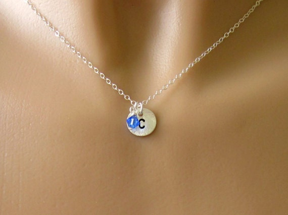 Custom Sterling Silver Initial Necklace With Birthstone Pendant
