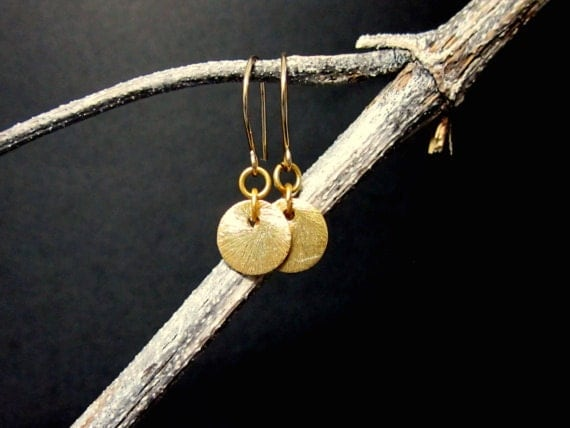 Petite Brushed Gold Earrings - Gold Vermeil Discs on Gold Filled Earwires