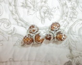 Vintage Clip Unsigned Beautiful Three Circular Ball Amber-Silver Toned Earrings