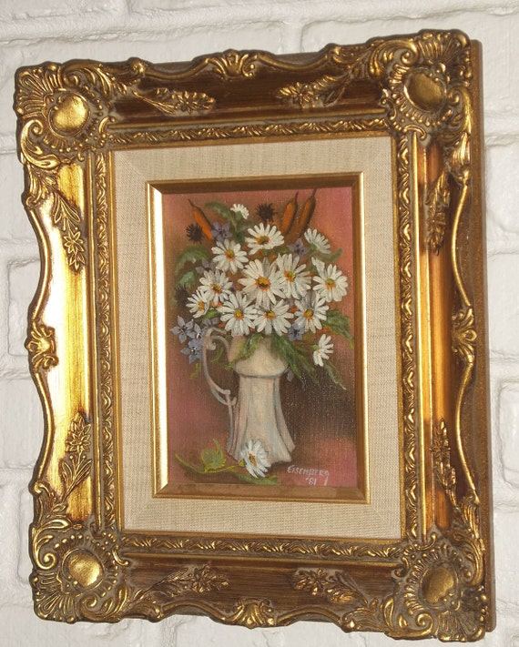 Vintage Flower Painting on Canvas by Eisenberg 1981 in Beautiful Vintage Frame