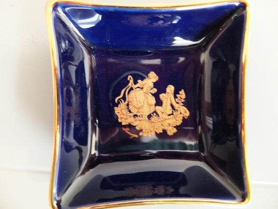 Mini Limoges Navy Blue Gold Rim Jewelry dish