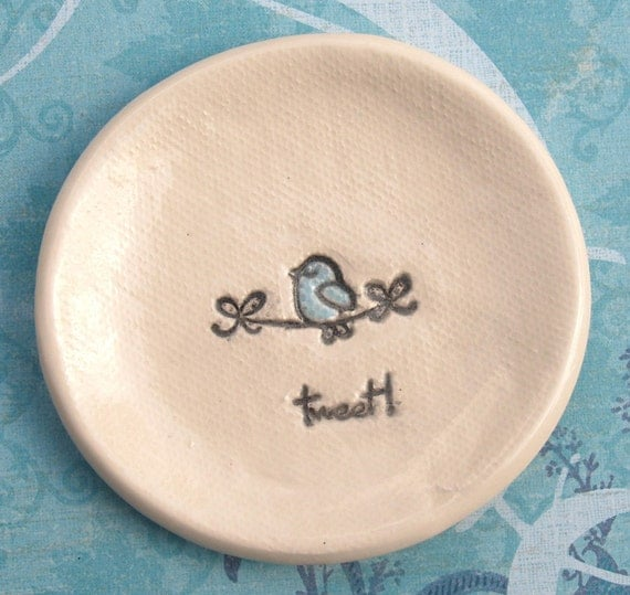 Wee Winky Bluebird Handcrafted Pottery Bowl or Tray for Holding Rings or anything Small and Special