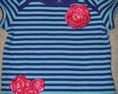Baby Girl Onesie style T shirt, Toddler Girl, T Shirt with blue and purple stripes and pink roses