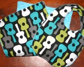 Gift Set - Minky Burp Cloth and Bib - Lagoon Groovy Guitars with Turquoise Blue Minky