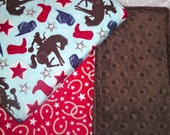 2 Western Cowboy Minky Burp Cloths for your Baby Boy - Wanna Be a Cowboy with Chocolate Minky