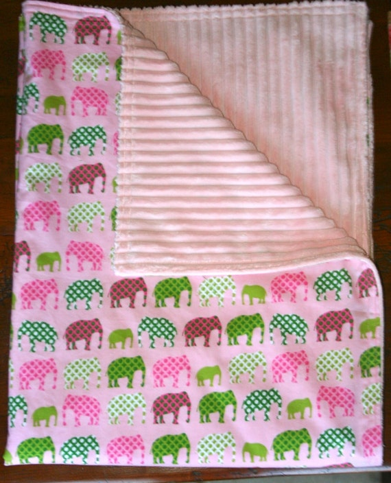 Minky Baby Blanket - Stroller Blanket - Pink & Green Urban Circus Elephants With Pink Ribbed Minky