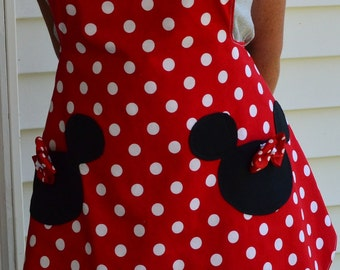 Minnie Mouse Apron, Party Apron, Womens Apron that is Reversible