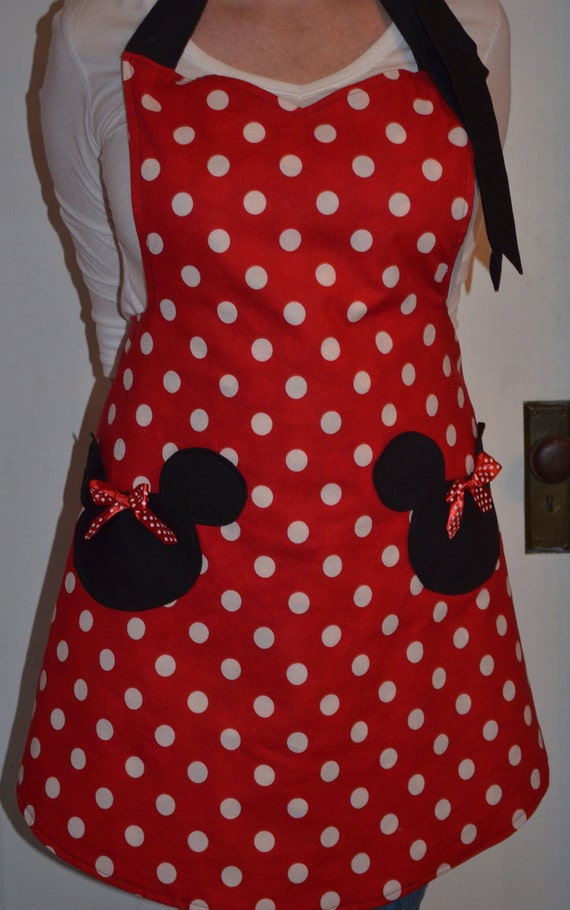 Minnie Mouse Inspired Womens Full Apron that is Reversible