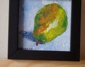 """Pear - 4"""" x 4"""" acrylic painting, framed, ready to hang"""