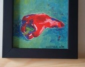 """Red Pepper - 4"""" x 4"""" acrylic painting, framed"""