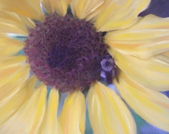 Sunflower Bumble Bee Oil Painting Art Print 16x20 11x14 8x10 5x7 Pastel Yellow Blue Aqua Brown