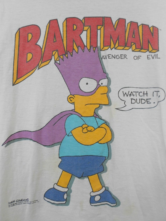 Simpson's Bartman Vintage T-shirt Large Cartoon Tshirt 1989