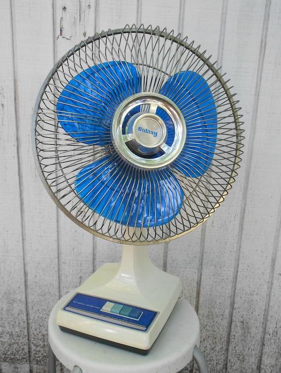 Vintage Blue Electric Fan Galaxy 16 Inch 70s Fan