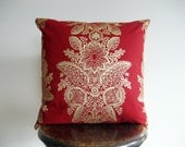 Red and Metallic Gold Christmas Marimekko Pillow Cover - 18x18 in