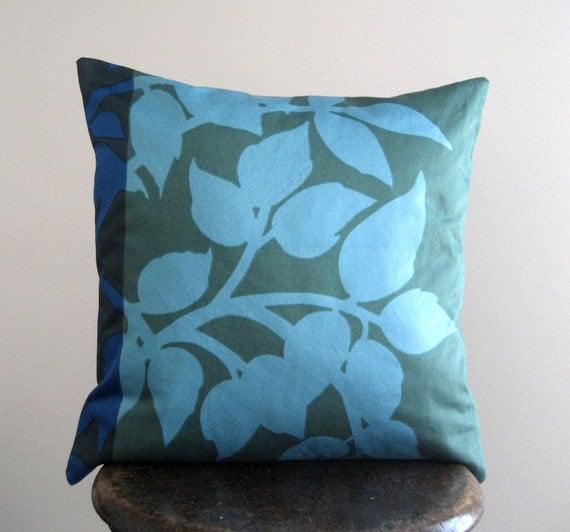 Marimekko Green, Blue, Teal, Aqua Madison WI Pillow Cover - 18x18 in