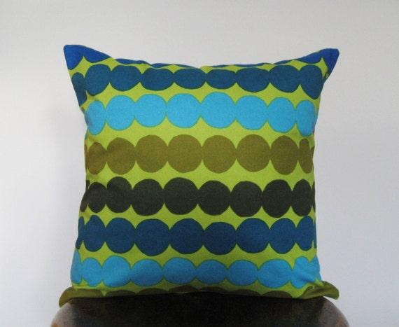 Marimekko Green Blue and Yellow Polka Dot Pillow Cover - 16x16 in